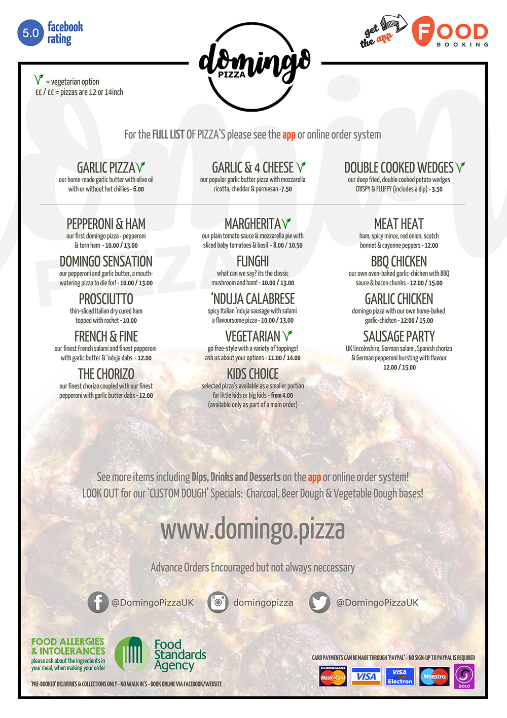 Menu Domingo Pizza